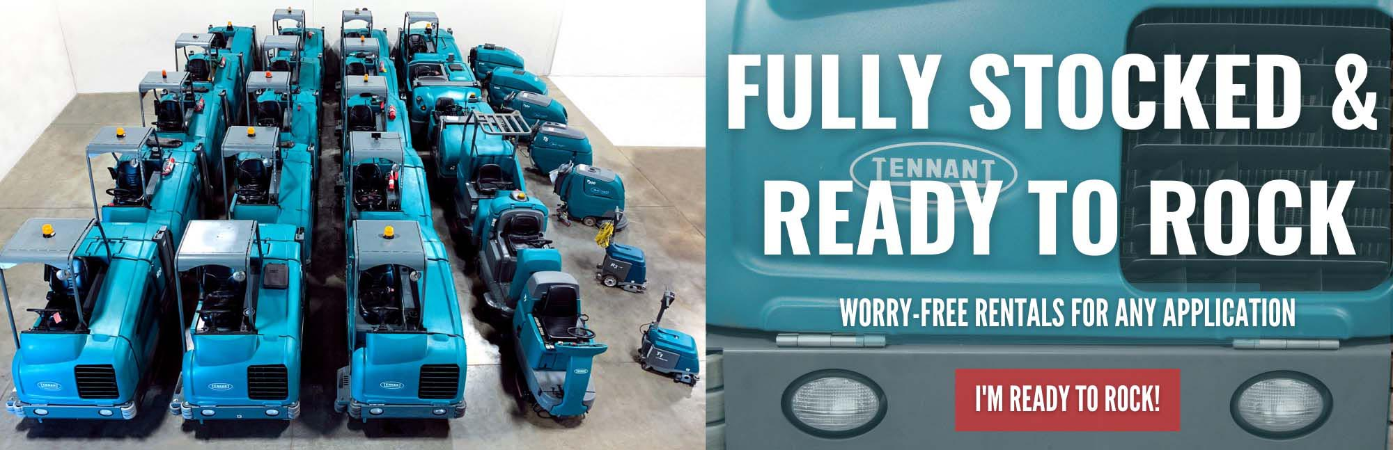Huge inventory of Tennant Scrubbers and Sweepers available for rent